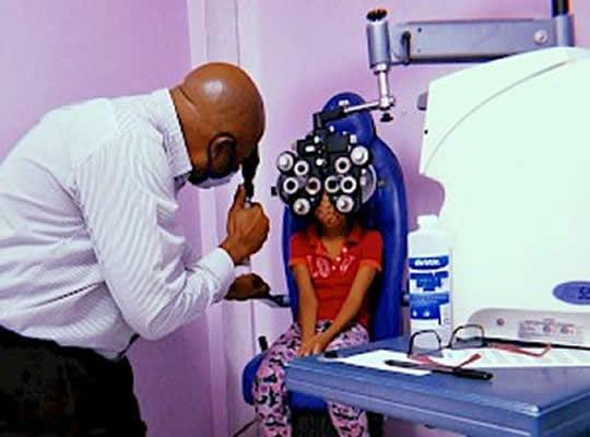 Ms Sangre Grande and Choice Optical provides free eye exams for children